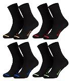 Piarini - 8 pares de calcetines unisex - Sin elástico - Caña cómoda - Negro con puntera de color - 47-50