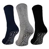 sockenkauf24 3 o 6 Pares Calcetines Antideslizantes Hombre Mujer Algodón ABS (43-46, 3 Pares - Negro | Azul | Gris)