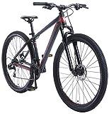BIKESTAR Bicicleta de montaña Hardtail de Aluminio, 21 Marchas Shimano 29' Pulgadas   Mountainbike con Frenos de Disco Cuadro 17' MTB   Negro Rojo