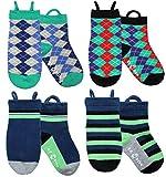 Ez Sox Calcetines de chico con puntera sin costura y sin deslizamiento, tira hacia arriba (3-5 años, Argyles/Blue/Solid/Stripes)