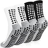 Emooqi Calcetines deportivos antideslizantes, 2 pares de calcetines de fútbol para hombre