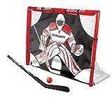 Bauer calle porterías de hockey con bate, pelota y Shooter I exterior/interior puerta objetivo con diana I PVC marco I pelotas de hockey y yo 5piezas calle Hockey Training I–palo de Hockey sobre hierba, color rojo.