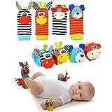 Gudotra (Kit 8 Piezas) 4pcs Juego de Traqueteo de Calcetines para Muñeca Bebé + 4pcs Calcetines Suaves para Niños Regalo para Bebés Recién Nacidos