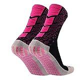 Manbozix Calcetines de Los Hombres Calcetines de Fútbol Calcetines Deportivos Antideslizantes Calcetines Transpirables Calcetines de Entrenamiento para Adultos 38-44, Rosa Negro