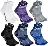 Rainbow Socks - Hombre Mujer Calcetines Deporte Colores de Algodón - 6 Pares - Púrpura Negro Gris Azul Marino Azul Blanco - Talla 44-46