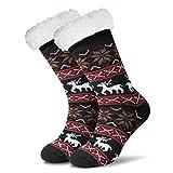 JARSEEN Mujer Hombre Navidad Calcetines Invierno Calentar Pantuflas de Estar Por Casa Super Suaves Cómodos Calcetines Antideslizante (Deer Negro, EU 36-42)
