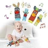 Surplex Bebés Juguetes Sonajeros, MuñEqueras Traqueteos y Juego de Calcetines para Buscar Pies, Jirafa Cebra Animal de Peluche, Despierta la Conciencia Auditiva, para 1-12 Meses ReciéN Nacido