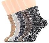 Ueither - Juego de 5 pares de calcetines altos de lana tejida con un estilo vintage, unisex, para el invierno y el otoño - -