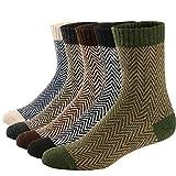 Ueither 5 Pares de Calcetines de Lana Tejida Gruesa Cálida y Suave para Invierno y Otoño de Estilo Antiguo para Hombres (38-43, Color 2)